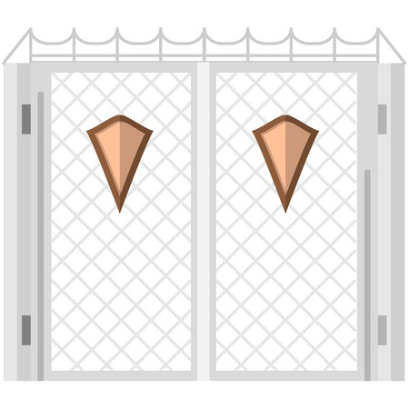 flat iron: Wrought iron gates gray flat color with two symmetry brown shields. Flat vector icon on white background.
