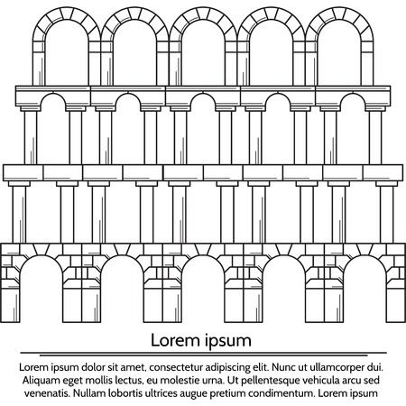 archway: Structure of level with different types arches. Black flat line vintage design vector illustration on white background with sample text.