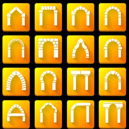 Set of square orange vector icons with white silhouette brick arch different types with shadow on black background. Vector