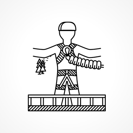 rope bridge: Person ready to jump from the bridge with rope in safety system a back view. Black flat line vector icon design element on white background for your website. Illustration