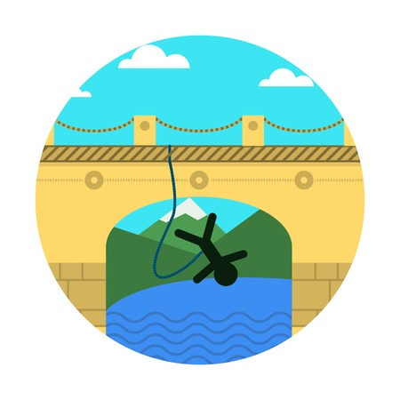 rope bridge: Person jumps with rope in safety system from arch bridge. Landscape with bridge, river and mountains. Colored flat vector icon design element on white background for your website.