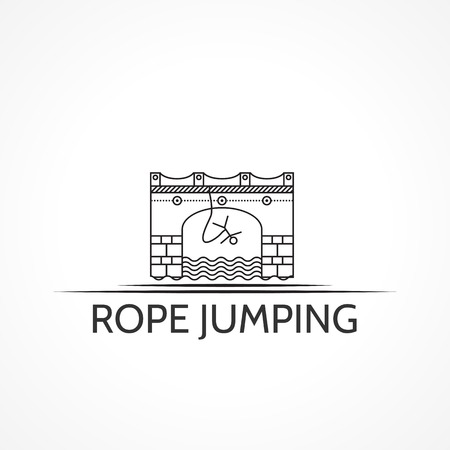 rope bridge: Black flat line arch bridge with rope jumper sign and words Rope Jumping. Isolated vector illustration on white background.