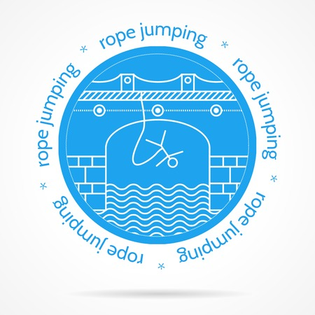 rope bridge: Round blue icon with white contour arch bridge with rope jumper and words Rope Jumping around for some extreme sport team. Isolated vector illustration on white background.