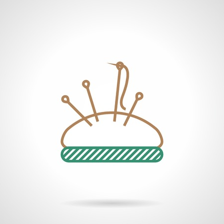Brown and green flat line vector icon for pincushion with set of needles isolated on gray background. Vector