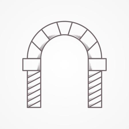 レンガの平らな線ビンテージ デザイン ベクトル アイコン丸型アーチ灰色の背景に。