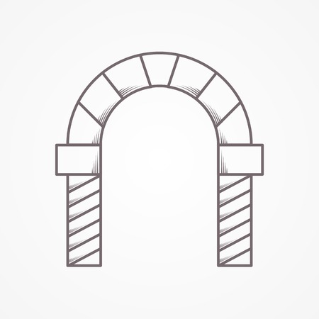 Flat line vintage design vector icon for brick round types archway on gray background.