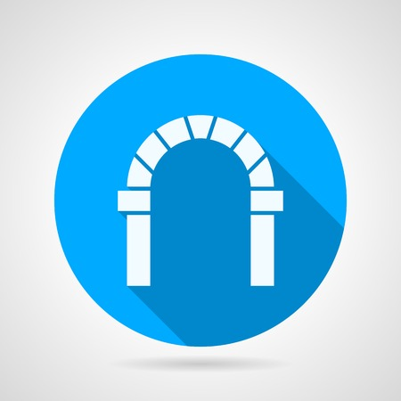 archway: Blue circle flat vector icon with white silhouette brick round archway on gray background. Long shadow design.