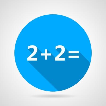 rekensommen: Ronde platte vector pictogram met wit silhouet wiskunde 2 plus 2 voor wiskunde of rekenen op grijze achtergrond. Lange schaduw design.