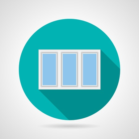 plastic window: Round blue flat vector icon for white frame plastic window with three section on gray background. Long shadow design. Illustration