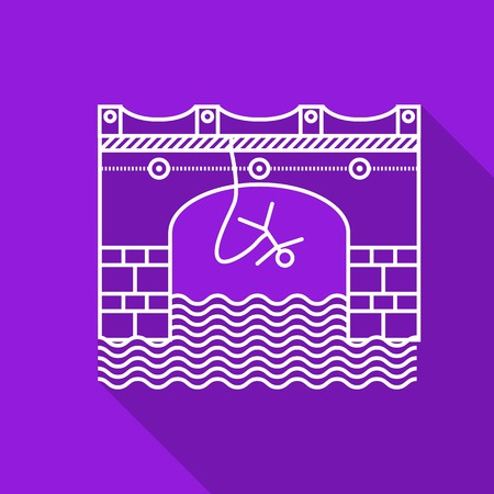 rope bridge: Flat line vector icon with white contour rope jumping action from arch bridge on purple background. Long shadow design.