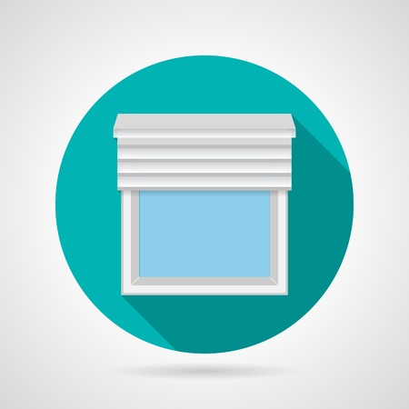 plastic window: Round blue flat vector icon simple plastic window with rolled blinds on gray background. Long shadow design. Illustration