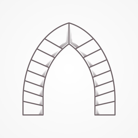 archway: Flat line vintage design vector icon for brick lancet archway on gray background.