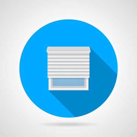 roller shutters: Circle blue flat vector icon for plastic simple window with horizontal jalousie on gray background. Long shadow design.