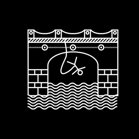 rope bridge: Flat white contour vector icon for rope jumping from arch bridge on black background. Design element for your website or business.