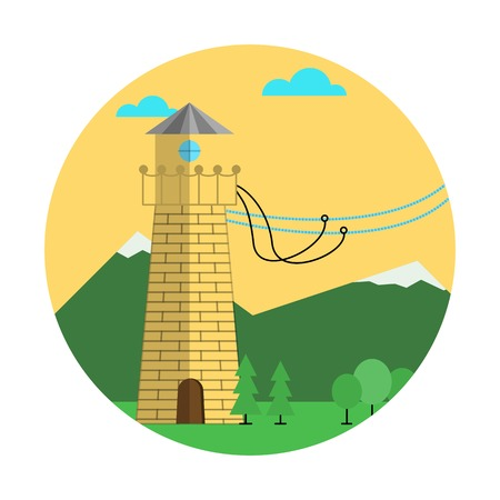 strapped: Flat colored round vector icon for brick yellow tower with mount equipment for rope jumping on white background. Design element for your website or business.