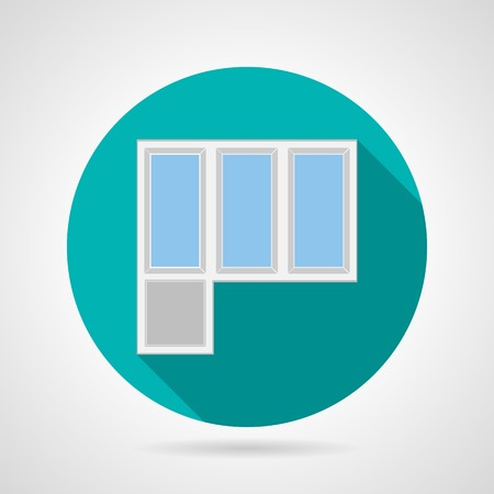 balcony view: Circle blue flat icon for white frame plastic balcony doors with windows on gray background.  Illustration