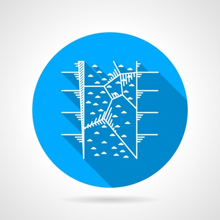 rappelling: Circle blue flat icon with white silhouette climbing wall for training on gray background.  Illustration