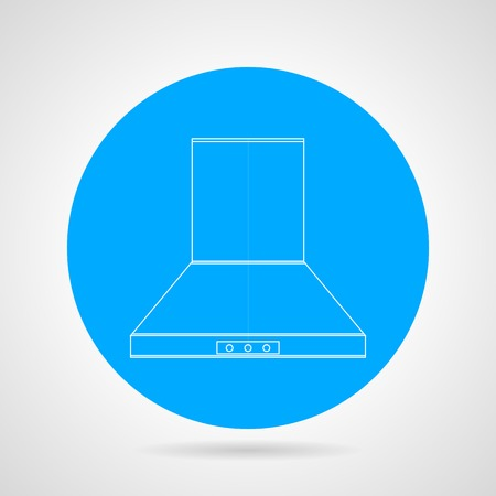 extractor: Circle blue flat icon with white line hood extractor on gray background.