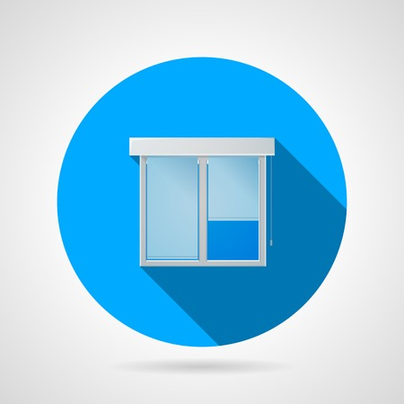 plastic window: Circle blue flat icon for plastic window with white frame and rolled curtains on gray background.
