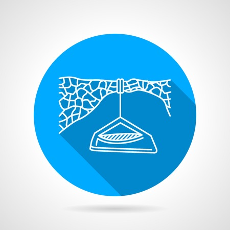 Round blue flat line icon with white contour hanging portal edge for rock climbing camp on gray background.  Illustration