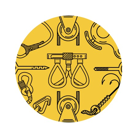 mountaineering: pattern with flat line elements for mountaineering on yellow background round design