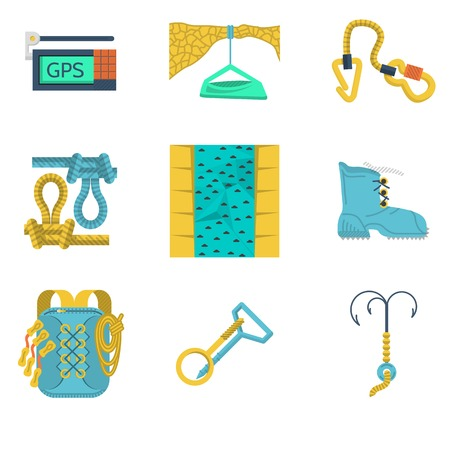 Set of colored flat icons for equipment for rock climbing  Vector