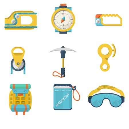 magnesia: Set of colored flat icons for equipment for rock climbing or alpinism on white  background.