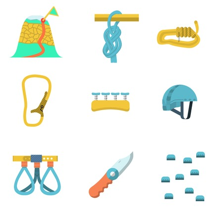 alpinism: Set of colored flat icons for rock climbing or alpinism outfit and equipment on white  background. Illustration