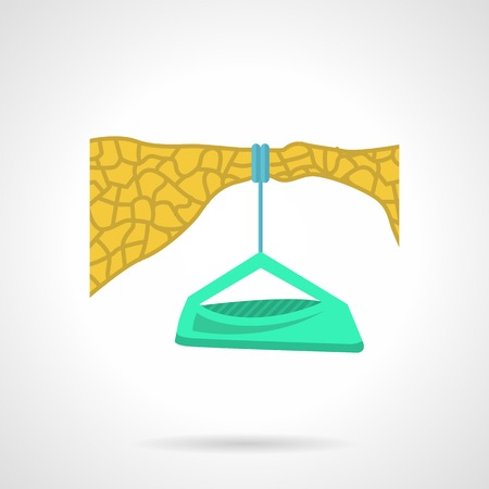 Green color climbing portal edge hanging on yellow stone edge.  Illustration