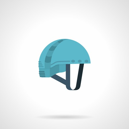 rappelling: Blue climbing helmet with gray straps.