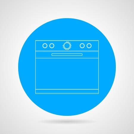 blue white kitchen: Flat line round blue icon with white contour kitchen stove on gray background. Illustration