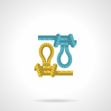 belay: Flat icon for blue and yellow ropes with knots for rock climbing on white background. Illustration