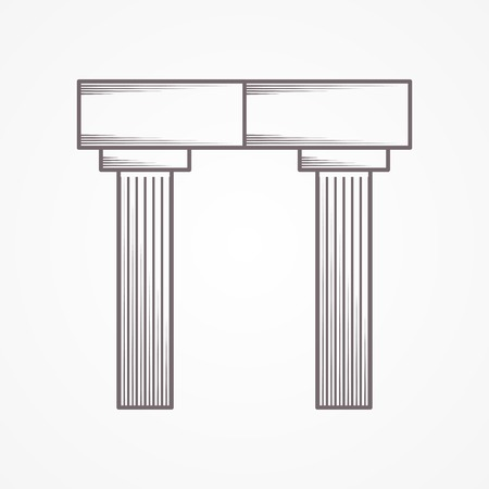 column arch: Flat line icon for rectangle arch with column on gray background. Illustration