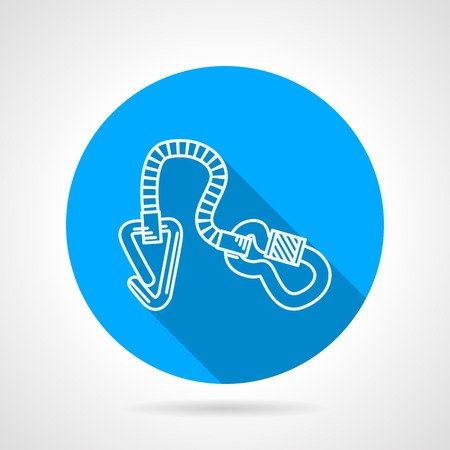 climbing gear: Flat line round blue icon with white contour climbing gear on gray background.