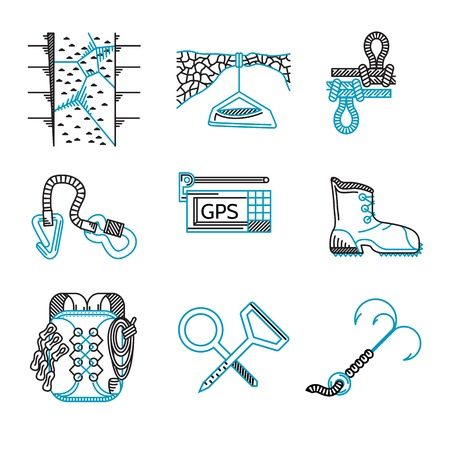 Set of black and blue flat line icons for outfit and equipment for rappelling, rock climbing on white background.
