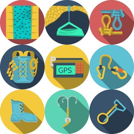 crampons: Set of colored round flat icons for outfit and equipment for rappelling, rock climbing on white background.  Illustration