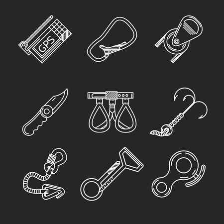 rappelling: Set of flat line white icons for rappelling or mountaineering or climbing equipment on black background. Illustration