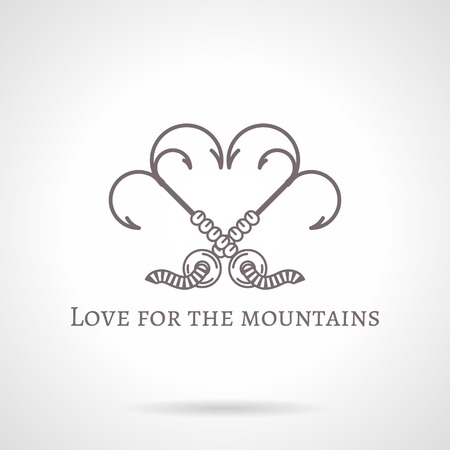 Design elements with gray vintage line style grappling hook with three spikes crossed in heart shape.  Vector
