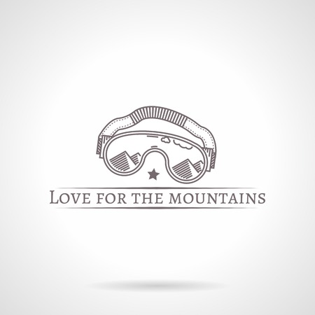 eyewear fashion: Design elements with gray vintage line style climbing goggles with reflection of mountain .