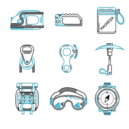 descender: Set of black and blue flat line vector icons for outfit and equipment for rappelling, rock climbing on white background.