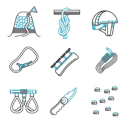 Set of black and blue flat line vector icons for outfit and equipment for rappelling, rock climbing on white background.