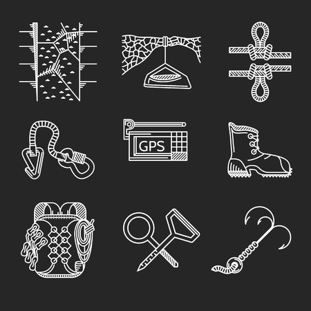 Set of white flat line vector icons for outfit and equipment for rappelling, rock climbing on black background.