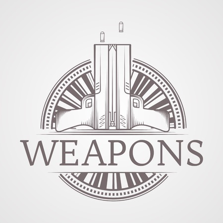 traumatic: Design elements with gray vintage line style two traumatic pneumatic guns round icon for self defense with word Weapons for some business or website on gray background Illustration