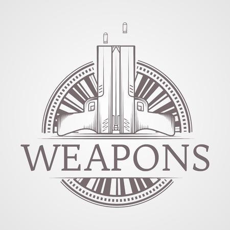 self defense: Elementos del dise�o con estilo gris l�nea vendimia dos pistolas neum�ticas traum�ticas redondas icono para defensa personal con armas de palabras por alguna empresa o sitio web sobre fondo gris