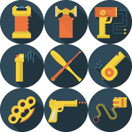 Set of flat circle dark blue vector icons for accessory and weapons for self-defense in yellow and orange color on white background. Long shadow design. Vector
