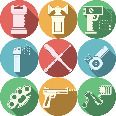 imperil: Set of flat circle color vector icons with white silhouette accessory and weapons for self-defense on white background. Long shadow design. Illustration