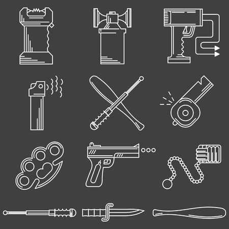 imperil: Set of black contour vector icons for self defence weapons and devices on white background. Illustration