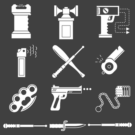 iron defense: Set of white silhouette vector icons for self defence weapons and devices on black background. Illustration