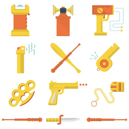 defence: Set of flat yellow and orange color vector icons for self defence weapons and devices on white background.