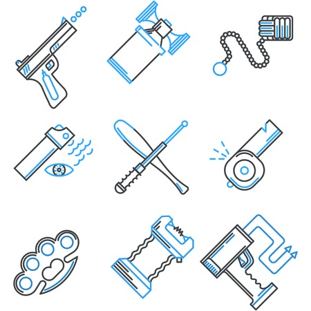 traumatic: Set of flat line black and blue color vector icons for self defence weapons and devices on white background. Illustration